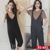 韓版寬鬆吊帶九分連體褲 XL-4XL O-ker歐珂兒 169397