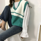 針織馬甲 韓版寬鬆學院風百搭針織馬甲女背心毛衣學生毛線馬夾2020新款春裝