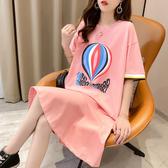 洋裝 棉質韓優尚M-XL棉質荷葉邊中長款連身裙女法式很仙短袖裙子7017 NE416 依品國際