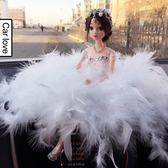 汽車擺件羽毛芭比娃娃蕾絲婚紗娃娃車內裝飾品女【奈良優品】