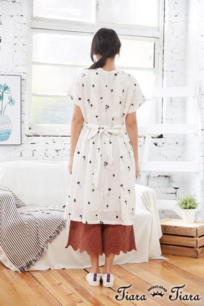 【Tiara Tiara】百貨同步aw 壓摺紋排釦刺繡花朵純棉綁帶洋裝(白/綠/黃) 漢神獨家