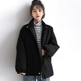 孜索秋冬新款外套女冬百搭加厚夾棉棉服寬鬆黑色休閒工裝棉衣 俏女孩