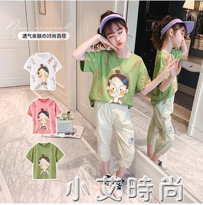 女童純棉短袖t恤 半袖體恤打底衫薄款中大童短款寬鬆兒童夏莫代爾 小艾新品