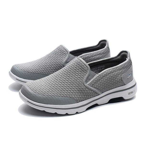 SKECHERS GO WALK5 白底 灰 格紋 避震 軟Q 懶人鞋 健走鞋 男(布魯克林) 55510LGBL