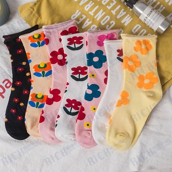 韓國ins潮泫雅風小花朵女士中筒襪子日系卷邊可愛甜美堆堆襪子