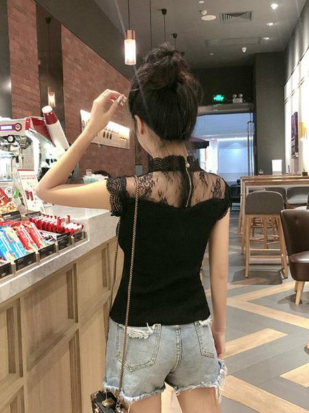 克妹Ke-Mei【AT51242】心機名媛氣質感併接透視蕾絲針織上衣