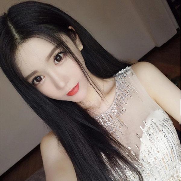 假髮女自然中分劉海長直髪黑色蓬鬆修臉及腰長?型時尚真整頂頭套 滿498元88折立殺