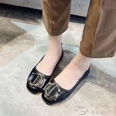 淺口鞋 單鞋夏季韓版百搭學生英倫風復古皮帶扣淺口懶人豆豆瓢鞋 樂芙美鞋