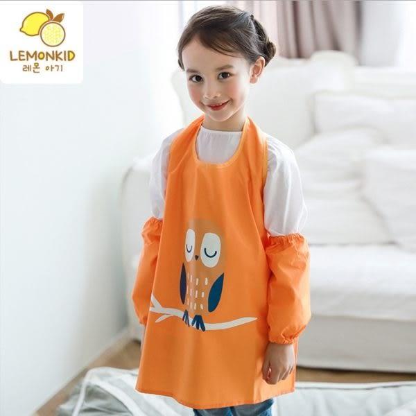 Lemonkid 檸檬寶寶 兒童畫畫衣罩衣糖果色晚安貓頭鷹 防水防髒 圍裙式 LE070616