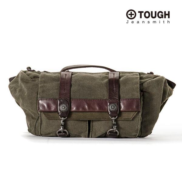 【TOUGH】-鐵釦造型棉布皮革提把側背斜背包(軍綠色)