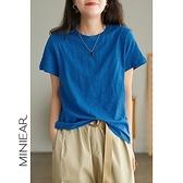 純棉T恤女 純色短袖上衣 寬鬆休閒T恤/9色-夢想家-0326