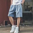 休閒短褲男夏天正韓潮流寬鬆中褲子男士五分褲夏季薄款工裝沙灘褲【免運】
