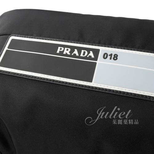 茱麗葉精品【全新現貨】PRADA 2VZ021 TESSUTO 字母徽章造型尼龍大後背包.黑