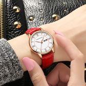 米蘭 雙日歷休閒防水時尚潮流學生石英錶皮帶女士手錶女錶