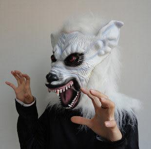 萬聖節用品化妝舞會 白色高檔狼頭面具