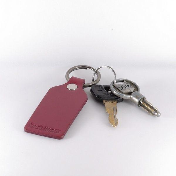 鑰匙圈 真皮 皮革 寛版 酒紅-Mark Honor