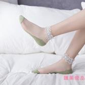 3雙|蕾絲襪 襪子女花邊水晶珍珠短襪淺口棉薄款網紗【匯美優品】