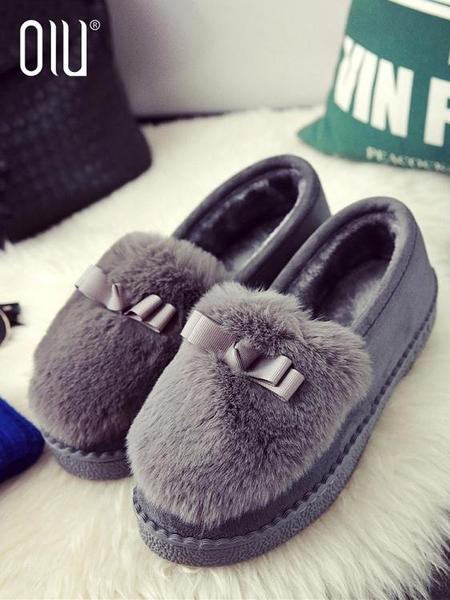 豆豆鞋女秋冬季新款百搭女鞋子一腳蹬保暖棉鞋外穿加絨毛毛鞋 優拓