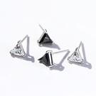 925純銀 單鑽三角形 耳環耳釘針-白水晶、黑瑪瑙 防抗過敏
