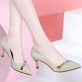 高跟鞋 高跟鞋女細跟2021年春秋季新款尖頭單鞋百搭皮鞋女鞋子 韓國時尚週