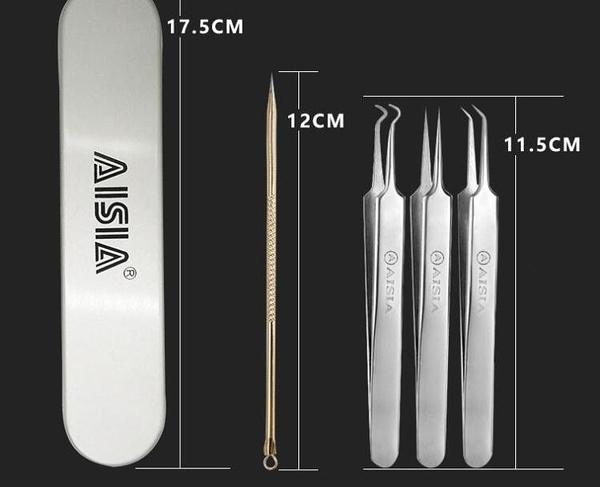 AISIA不銹鋼3件套粉刺針/粉刺夾/美容針/擠痘痘針/鑷子黑頭三件套 三角衣櫃