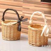 購物籃 收納籃 野餐籃柳編藤編織菜籃子手提包收納筐花籃手提籃【週年慶免運八折】