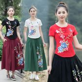 秋冬女短T恤顯瘦刺繡棉麻盤扣修身圓領復古中式女繡花