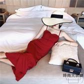 赫本小紅裙氣質沙灘裙女海邊度假長裙子顯瘦紅色連身裙【時尚大衣櫥】