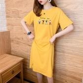 連身裙女2020早春夏季新款韓版寬鬆卡通印花中長款打底短袖T恤裙 韓國時尚週