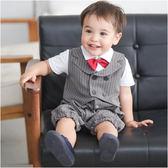 短袖連身衣 假吊帶 條紋 西裝背心 爬服 哈衣 男寶寶 小紳士 小花童 套裝 2件套 Augelute Baby 60244