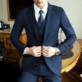 男士西服套裝三件套青少年韓版單西外套男正裝職業修身新郎小西裝【博雅生活館】