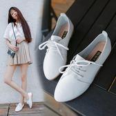 韓版女百搭夏系帶小皮鞋透氣 JD1189 【3C環球數位館】