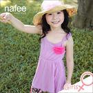 輕薄純棉荷葉肩帶花朵背心亮麗洋裝--粉紫