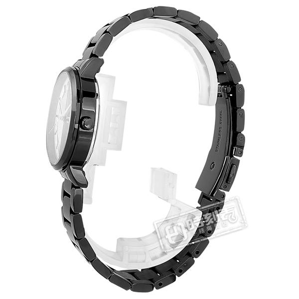 羅梵迪諾 Roven Dino / RD6086LBK / 簡約時尚 半鏤空設計 藍寶石水晶玻璃 不鏽鋼手錶 鍍黑 30mm