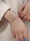 手鍊 手鐲高級感手鐲女18K金手鍊ins小眾設計新款鈦鋼鐲子簡約時尚水晶首飾 寶貝 新品