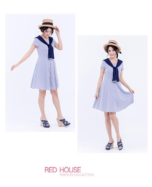 RED HOUSE-蕾赫斯-假兩件條紋洋裝(海洋藍)