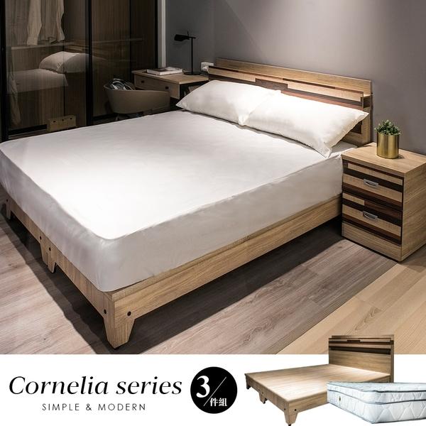 Cornelia卡蓮娜5尺三件式房間組-床頭+床底+3M防潑水床墊[白色/梧桐色]【obis】