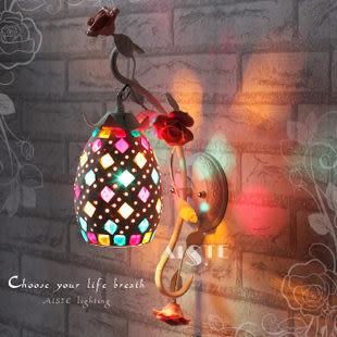 設計師美術精品館歐式田園床頭墻壁燈具/鐵藝創意小夜燈飾/現代簡約花草/LED過道燈