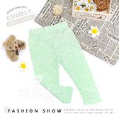 蘋果綠玫瑰蕾絲簍空輕薄內搭褲 竹節棉 透氣 清新 休閒 舒適 鬆緊 馬卡龍色 長褲 玫瑰 內搭褲