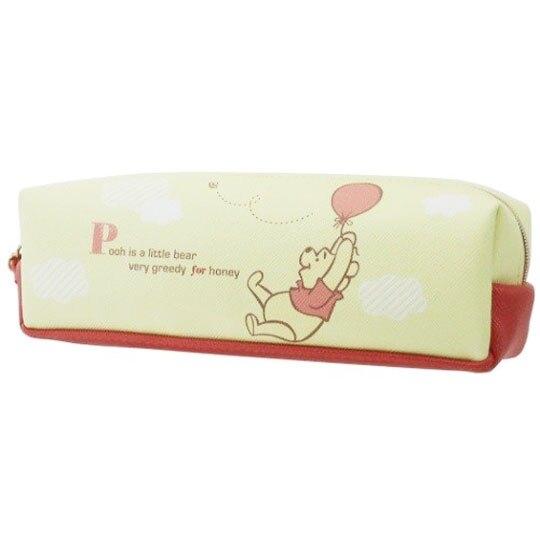 〔小禮堂〕迪士尼 小熊維尼 皮質拉鍊筆袋《黃橘.拉氣球》化妝包.收納包.鉛筆盒 4901770-60136