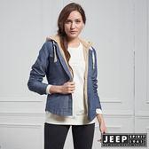 【JEEP】女裝 美式造型牛仔連帽外套 (藍)