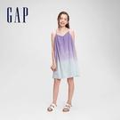Gap女童 純棉紮染吊帶洋裝 686944-紫色漸層