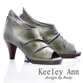 ★零碼出清★Keeley Ann 極簡時髦 ~ 軟皮舒適露趾全真皮踝靴(灰)