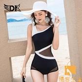 游泳衣女性感連體保守遮肚顯瘦韓國泡溫泉比基尼【慢客生活】
