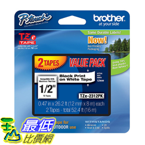 [106美國直購] 膠帶 Brother TZE2312PK 1/2-inch Standard Laminated P-Touch Tape, Black on White 26.2 Feet (2-Pack)