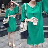T恤裙 寬鬆純棉中長款喇叭袖短袖t恤裙韓版大碼休閒洋裝女裝 綠光森林