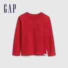 Gap男幼童 活力亮色圓領休閒長袖T恤 577619-紅色