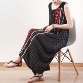 洋裝-長款寬版條紋拼接格紋無袖女連身裙73sm59【巴黎精品】