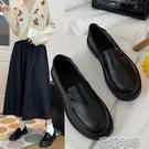 一腳蹬皮鞋新款小皮鞋韓版平底百搭復古英倫風黑色女單鞋加厚一腳蹬鞋 快速出貨