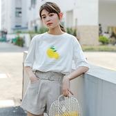 短袖T恤-清新檸檬印花圓領女上衣2色73xn20【巴黎精品】